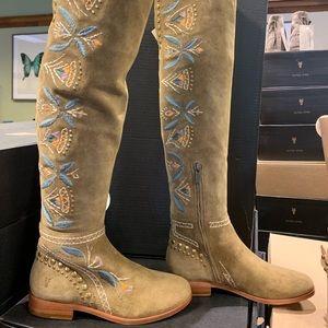 Frye TINA EMBROIDERY OTK over the knee boot NIB